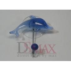 Крючок на присоске с дельфином синий